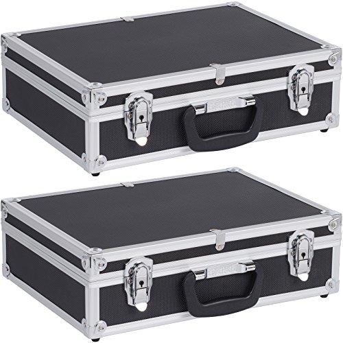 2x Aluminium Koffer 3 Fächer schwarz PRM10101B