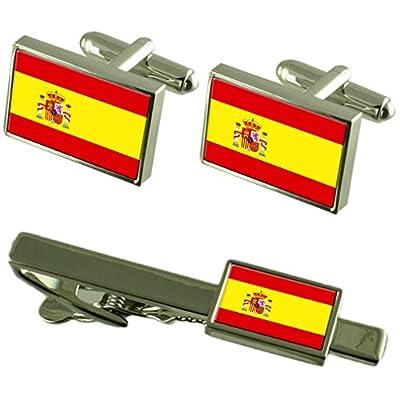 Clip de corbata gemelos Bandera España Matching Box Set de regalo