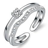 Unendlich U Zweistöckige Wellen 925 Sterling Silber Einstellbare Eternity Channel Set Zirkonia Kleiner Finger Ringe für Mädchen Damen, Ringgröße 42 mit Gabe Beutel
