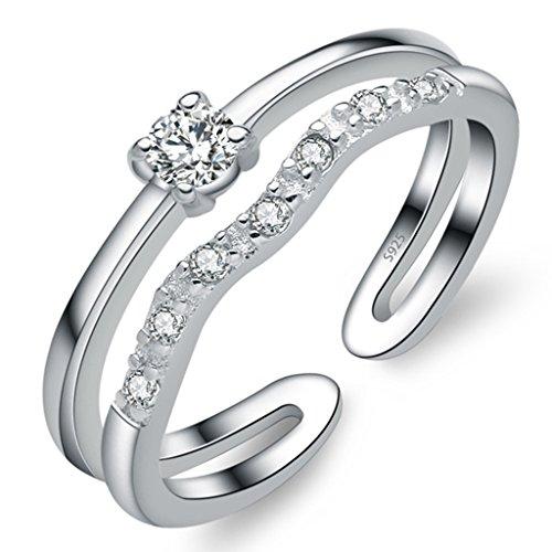 Unendlich U Zweistöckige Wellen 925 Sterling Silber Einstellbare Eternity Channel Set Zirkonia Kleiner Finger Ringe für Mädchen Damen, Ringgröße 42 mit Gabe Beutel (Süße Finger-ringe Für Frauen)