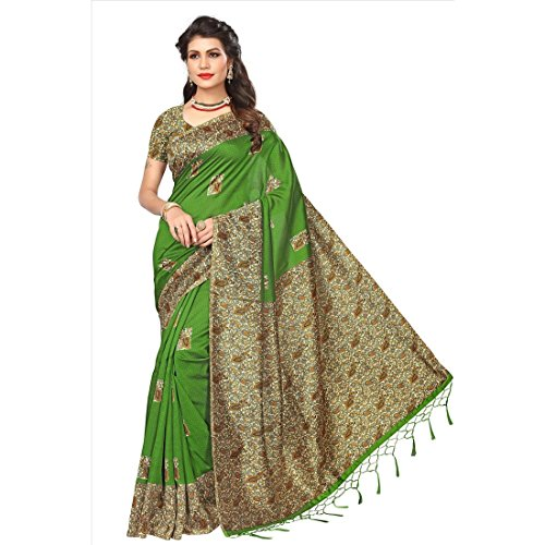 Art Decor Sarees Women\'s Green Color Mysore Silk With Tessal Saree With Blouse Piece