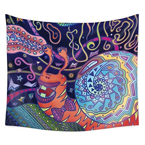 Qchengsan Psychedelic Wandteppich, abstrakte ungewöhnliche Figur mit Farb- und Form-Details, Hippie Arabesque Retro-Muster, Wandbehang für Schlafzimmer, Wohnzimmer, Wohnheim, 4, W:59''*H:51'' -