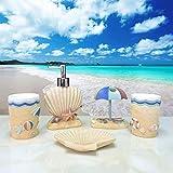 Aolvo 5x Bad Zubehör Set–Hawaiian Style–Coastal Badezimmer Zubehör, gehören Seifenspender, Zahnbürstenhalter, Becher, Seifenschale für Home, langlebiges Kunstharz-Set