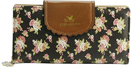 Kleine Blume Geldbörse Elegant Damen IHRKleid® Leder Geldbeutel Süß Portemonnaie (Schwarz) (Leinwand Tote-geldbeutel)