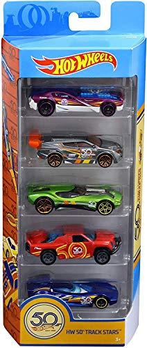 Hot Wheels FWF98 50th Anniversary 5er Pack 1:64 Die-Cast Fahrzeug Geschenkset in Jubiläumsedition, mit 5 Spielzeugautos, ab 3 Jahren