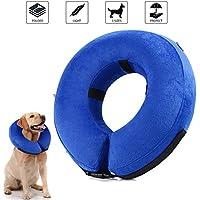 Collar de recuperación inflable para perros, cono de cuello isabelino ajustable para mascotas Recuperación de cirugía o heridas (L)