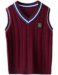 EOZY Kinder Jungen V-Ausschnitt Weste Top Baumwolle Strickweste Ärmellos  Sweater Pullover d7c42fc258