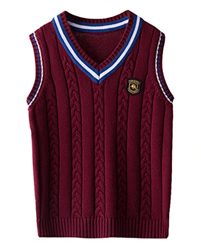 EOZY Kinder Jungen V-Ausschnitt Weste Top Baumwolle Strickweste Ärmellos Sweater Pullover Rot 130 Bruste 71cm