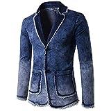 Celucke Herren Jeansjacke mit Blazer Design,Männer Herbst Winter Cardigan Wash Vintage Denim Jacke Langarm Mantel