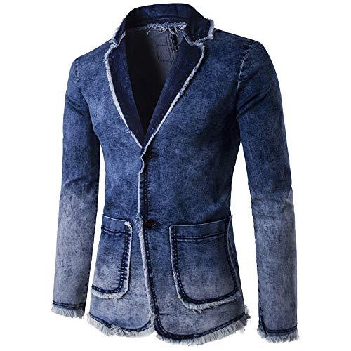 KPILP Mantel Strickjacke Herren Herbst Winter Warm Wash Vintage Denim Burst Jacke Langarmshirts(Schwarzuff0c 2XL)