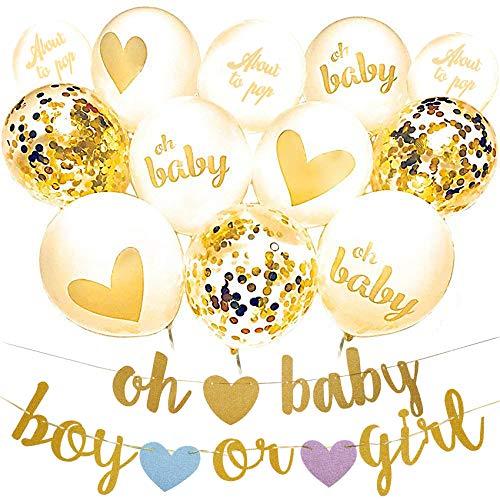 musykrafties Oh Baby Ballon und Banner Set Gender Reveal Dekoration