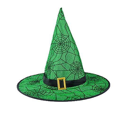 LANDFOX Halloween Hexenhut Schwarzer Hexen-Hut der Erwachsenen Frauen für Halloween-Kostüm-Zusatz-Kappe Spinnennetz Gelb,Grün Minihexenhut mit Federn und Schleier