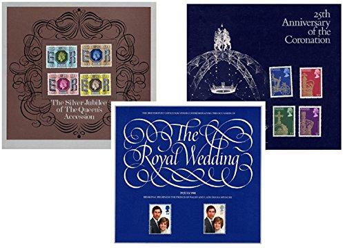 Royal Mail - Collezione di francobolli commemorativi, con testo in lingua inglese, set con 3 confezioni