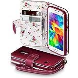 Samsung Galaxy S5 Mini Hülle, Terrapin Handy Leder Brieftasche Case Tasche mit Kartenfächer für Samsung Galaxy S5 Mini Rot mit Blumen Interior