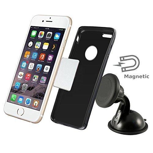TecHERE Magneto - Magnetische Auto Halterung mit Saugnapf für Smartphones - Universeller Handyhalter für iPhone 6, 6 plus, 5s 5c 5 4s, Samsung Galaxy S2 S3 S4 S5 Note, Nexus, Lumia, Sony Xperia, LG, HTC - Multi-Winkel mit 360 Grad Rotation - 100% Geld-zurück-Garantie – Schwarz
