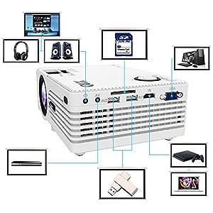 Proyector QKK (Versión mejorada), Mini Proyector con Estuche Portátil, Compatible con 1080P Full HD, Compatible con Fire TV Stick, PS4, Xbox, Chromecast, HDMI, VGA, SD, USB, Blanco.