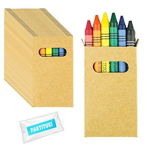 Gadget Compleanno Bambini Partituki. 30 Sets di 6 Pastelli a Cera Colorati e una Ghirlanda di 10 Metri. Ideale per Regalini Fine Festa Bambini e Pignatt