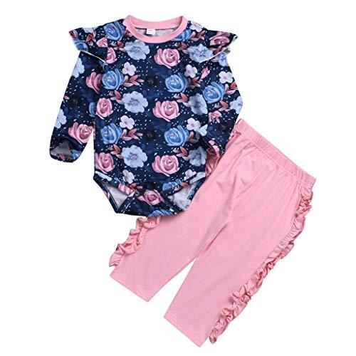 Janly Kleinkind Baby Mädchen Floral Strampler Tops Geraffte Feste Hose Hose Outfits Set Blumenbluse für Kinder mit Langen Ärmeln (90, Rosa) Kapuze Hose Top