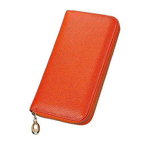 Lisansang Womens RFID Walllet Damen Große Kapazität Leder Clutch Lange Brieftasche Kartenhalter Organizer Damen Geldbörse Damen Leder Zip Around Wallet, Frauen, die Geldbör (Farbe : Orange) - Zip Around Organizer