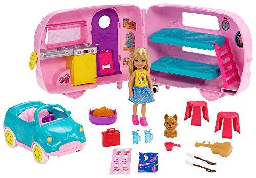 Barbie FXG90 - Chelsea Camper und Puppe Spielset, Puppen Spielzeug ab 3 Jahren