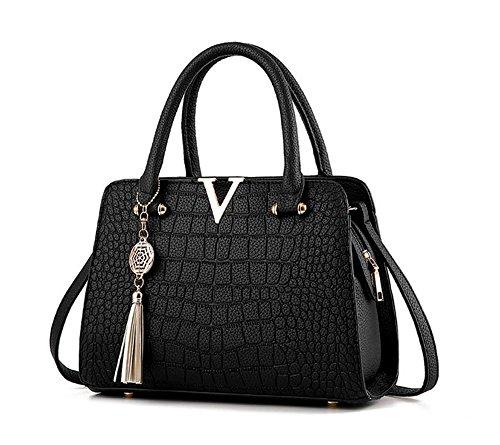 Vincenza , Damen Tote-Tasche schwarz Black Wide Schwarz