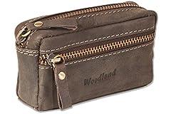 Idea Regalo - Woodland - Borsa in pelle chiave con 2 portachiavi in morbido, pelle di bufalo trattata in marrone scuro/Taupe