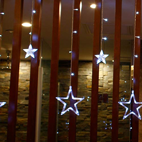 Saitenlichter, Star-Lichter LED Lights Saque Five-Pointed Star Curtain Lights Christmas Day Lights Hochzeiten Ins Dekorative Leuchten, 6 Big 6 Small Stars Lights (European Regulations),White