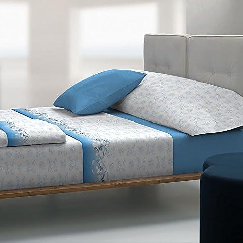 Tolrà TB007 - Juego de sábanas y funda de almohada, 3 piezas, tacto visón, para cama de 90 cm, color