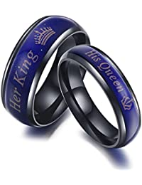 High Quality 2pcs Amazing Mood Ring For Her King His Queen Titanium Color-Changing Ring Wedding/Promise Rings...