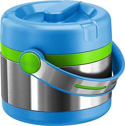 Emsa Boîte Isotherme avec Récipient Alimentaire, 0,65 Litre, Couvercle Dévissable, Inox/Bleu/Vert, Mobility Kids, 515862