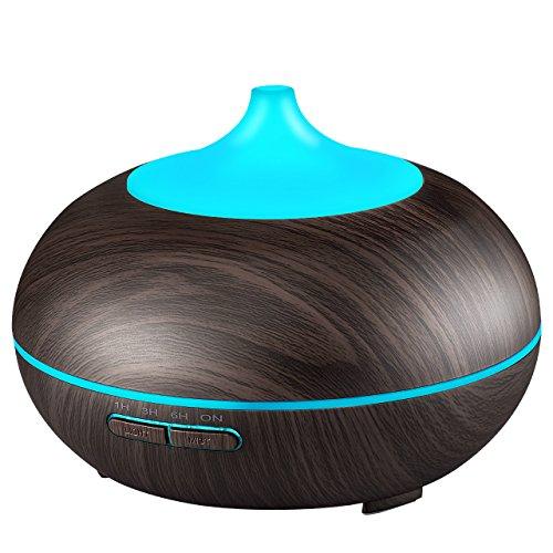 Diffusore di oli essenziali 300 ml ad victsing ultrasuoni diffusore aromaterapia diffusore di aroma umidificatore purificatore d'aria silenzioso 7 colori di luci led per ufficio casa spa,yoga - nero