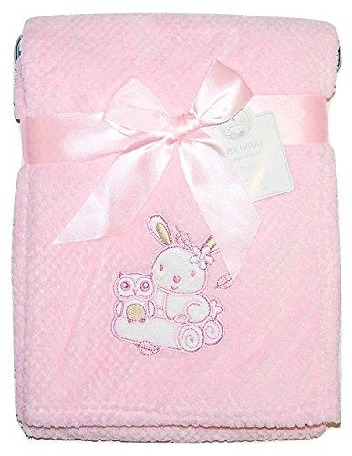 Eule-geschenk-korb (Baby Mädchen Weiche Fleece-Umhüllung Decke Kinderwagen Gitterbett Moses Korb Pink Eule Kaninchen)