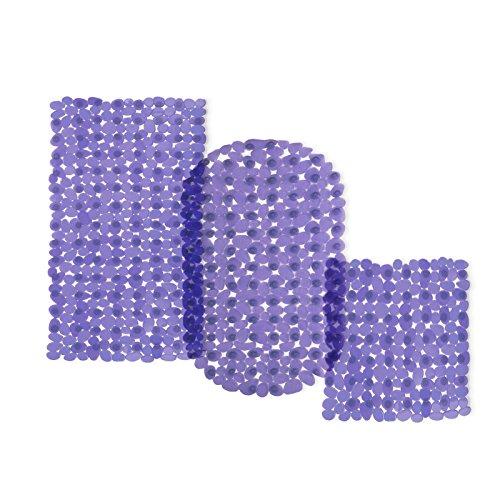 casa pura® Wanneneinlage Bubble   Bubble-Optik   lila-transparent   schadstoffgeprüft   als Badewanneneinlage und Duschmatte erhältlich   3 Größen   rechteckig (69x36 cm)