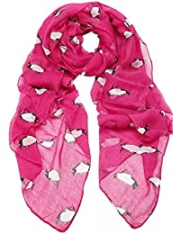 Hot Pink Unusual Cute Penguin Print Lightweight Scarf