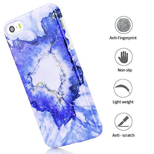 iphone 5s Hülle, Marmor Design Muster TPU Dünn Silikon Schutzhülle für iphone 5 / 5s / SE , E-lush Kristallklar Durchsichtig Kratzfeste Handyhülle Ultra Chic Thin Weich Schutzhülle Rückschale Etui Bum blau