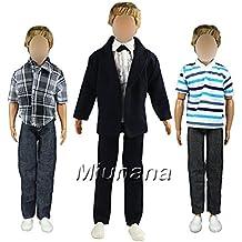 Miunana 3 Trajes de Estilo Moda Ropa Casual Chaqueda Camisa Pantalones para Novio Ken Príncipe Muñeca Barbie