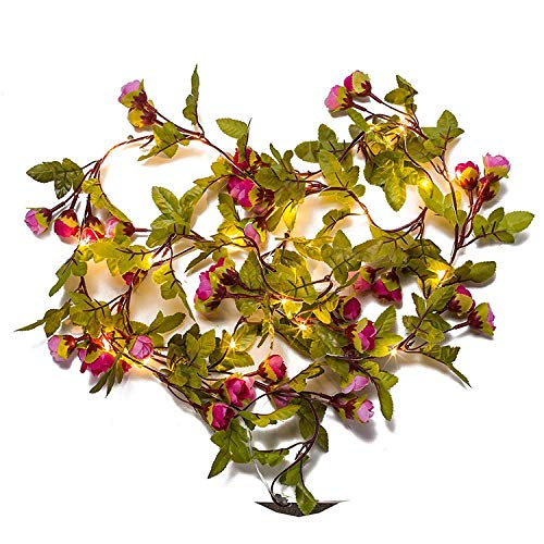 ZMJK Urlaub Laterne_Led Lichterkette Rattan Blume Lichterkette, (Puder + Rose Rot) Kupferlinie, 2 Meter 20 Licht Batterie (Warmweiß)