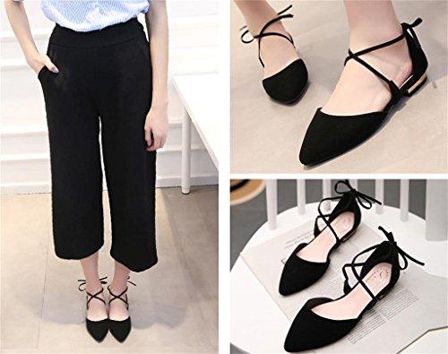 ALUK- Automne et été - Cravate avec chaussures pointues dans les chaussures sandales Chaussures de sport ( couleur : Noir , taille : 36 ) Noir
