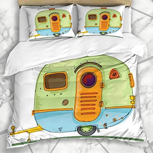 Soefipok Bettwäschesätze Motor Vintage Caravan Parks Reisemobil Wohnwagen Camp LKW Hitch Design Trip Mikrofaser Bettwäsche mit 2 Kissenbezügen