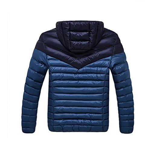 Zhuhaitf Style coréen Hooded Warm Padded Color Stitching Detachable Hat Men Jacket red