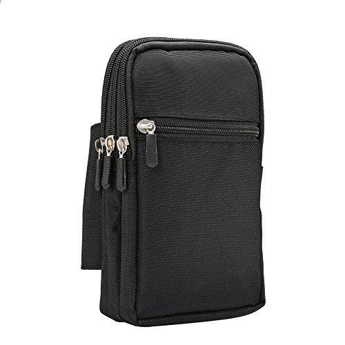 Universal Heavy Duty robuste Nylon Canvas Hüfttasche Handy Tasche vertikale Smartphone Holster Tasche mit Gürtelclip Haken Loop Wallet Tasche für alle Handys Tablet unter 7inch (Heavy-duty Nylon Taschen)