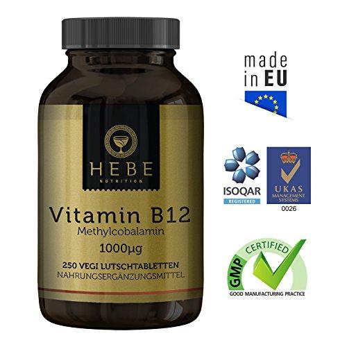 Vitamin B12 Methylcobalamin 1000 μg, hochdosiert, 250 Lutschtabletten, vegan, Premium-Qualität von Hebe Nutrition - 2