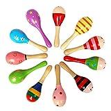 12 stks muzikale zand hamer houten maraca hout rammelaar shaker muziekinstrument educatief speelgoed voor kinderen