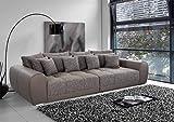 lifestyle4living Big Sofa braun, Kunstleder/Stoff | XXL Sofa mit extra tiefer Sitzfläche auch als Liegesofa, ca. 3m breit