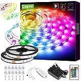 Lepro LED-remsa 10 m (2 x 5 M), LED-remsa musikljuskedja med fjärrkontroll, rembelysning vattentät IP20, RGB dimbar ljusremsa, ljusband rester, färgglad kedja för fest jul dekoration