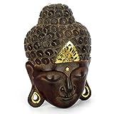 Wuona Objects Buddha Kopf - Maske aus Balsaholz von Hand geschnitzt - Größe XS - 30 cm hoch - Wandbild Relief