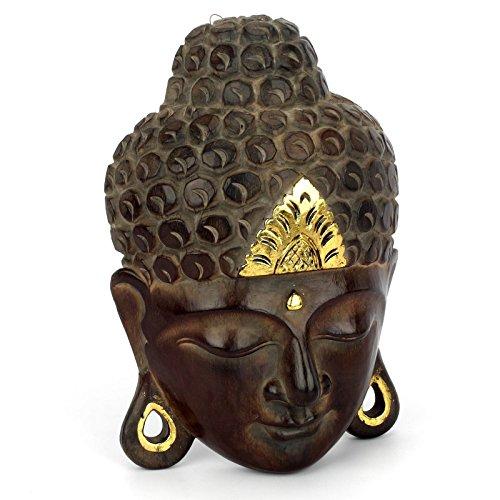 Wuona Objects Buddha Kopf - Maske aus Balsaholz von Hand geschnitzt - Größe XS - 30 cm hoch - Wandbild Relief - Antik-look Holz Geschnitzt