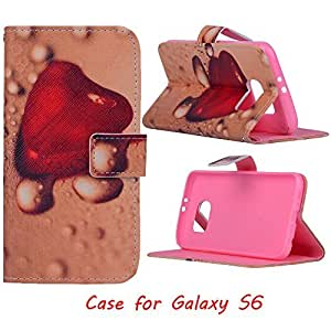 Jenny Shop Galaxy S6 Wallet Case, Anti Scratch [Love Gift] Sparkle Pattern Fashion Style Premium Pu Leather Wallet Case, Stand Feather with Built-in ID & Credit Card Slots Pockets Flip Cover Built-in Magnetic Closure Cover Case for Samsung Galaxy SVI 2015 Release (NOT for Galaxy S6 Edge), Carrier Compatibility Verizon, AT&T, Sprint, T-Mobile, International, and Unlocked (Fervent Heat Love Heart)