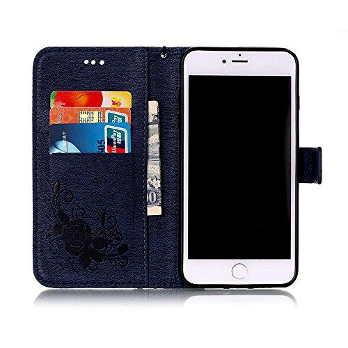C-Super Mall-UK Apple iPhone 7 Plus hülle: Qualität Exquisite Funkeln Bling Strass Geprägtes Blumen & Schmetterling-Muster PU-Leder-Mappen-Standplatz -Schlag-hülle für Apple iPhone 7 Plus(azurblau) Navy blue(bling)