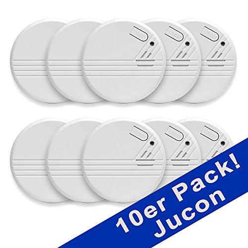 Jucon KD-134A 10 10er-Set Rauchmelder, Feuermelder, geprüft nach EN 14604